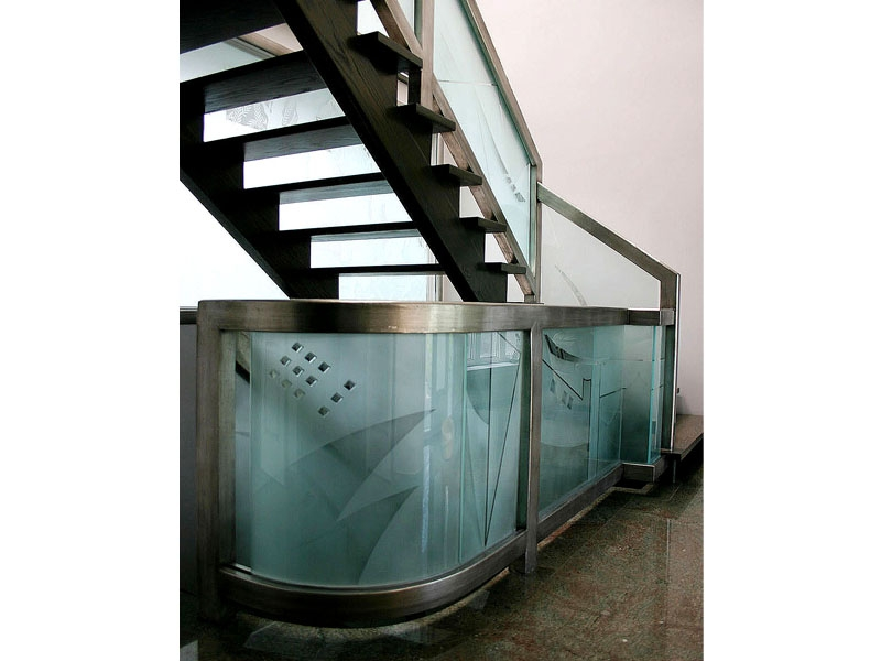 Etched Glass Railing G Rl15 Cbd Glass   Etched Glass Stair Panels   Bannister   Mirror   Tempered Glass   Duplex   Glass Etching