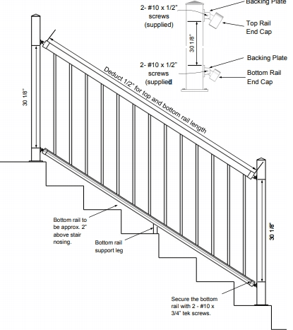 Swivel Bracket Installation For Stairs Custom Angle Posts | Outdoor Stair Railing Installers Near Me | Transitional Handrail | Cable Railing | Glass Railing | Porch Railing Kits | Vinyl Railing