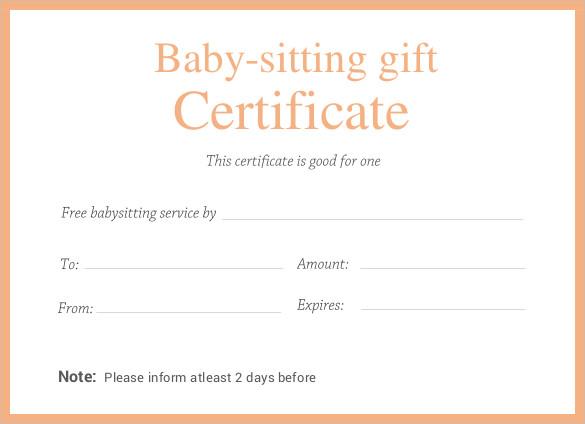 Scratch Gift Certificate Babysitting