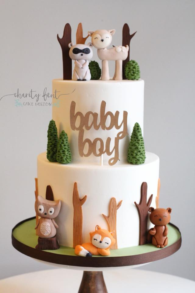 Woodland Animal Themed Baby Shower Cake - Charity Fent ...