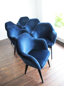 Vintage Blue Velvet Dining Armchairs