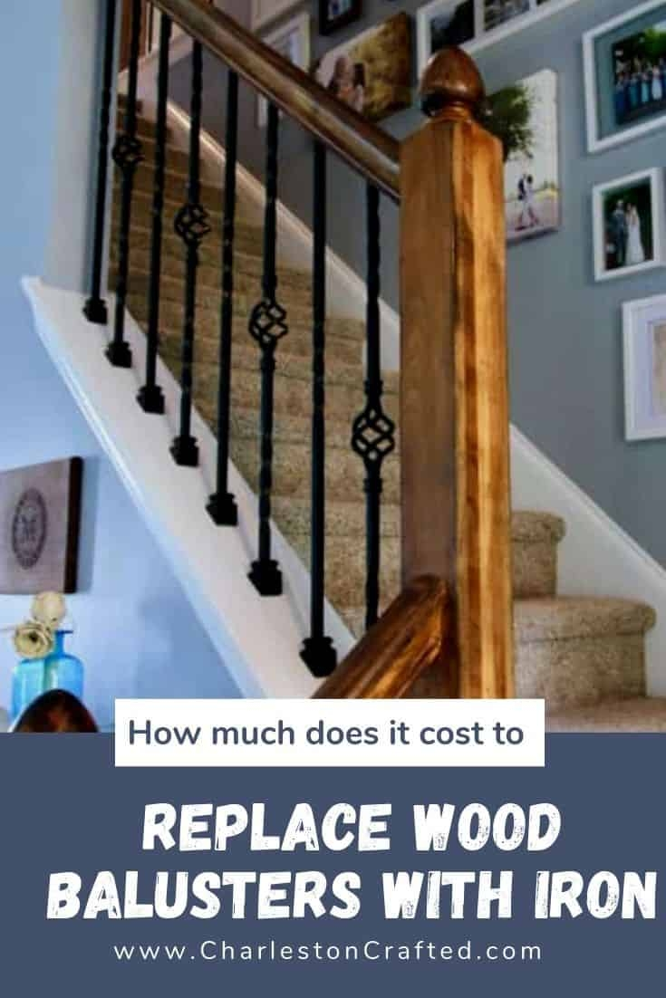 How Much Does It Cost To Replace Wood Balusters With Iron | New Banister And Spindles | Stair Treads | Iron Stair | Oak Banister | Iron Balusters | Floating Stairs