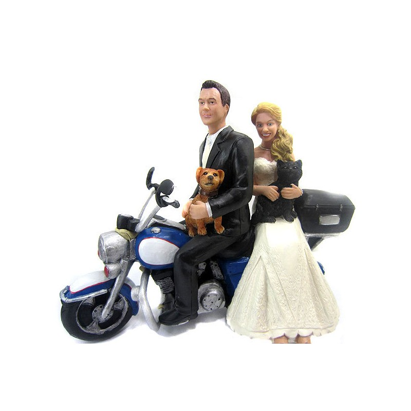Causual Bride And Groom Motorcycle Wedding Cake Toppers With A Dog     Causual Bride And Groom Motorcycle Wedding Cake Toppers With A Dog And Cat