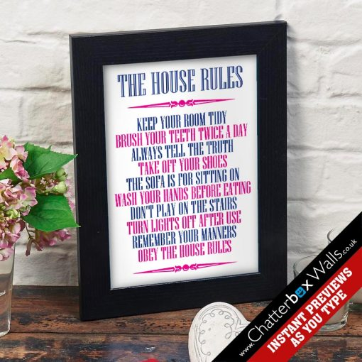 Personalized House Rules Prints   Canvases   Chatterbox Walls House Rules Personalized Print