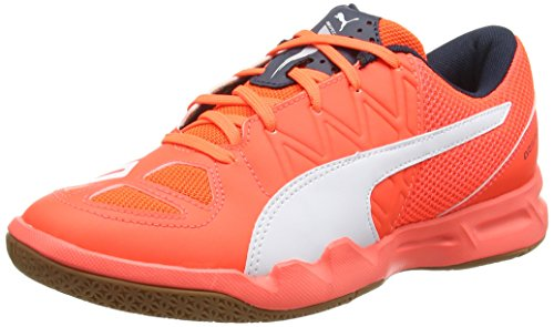 Puma evoSPEED Indoor 5.4, Chaussures indoor mixte adulte, Orange (Lava Blast/White/Total Eclipse), 40.5