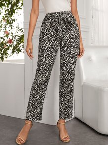 All Over Print Tie Front Straight Leg Pants