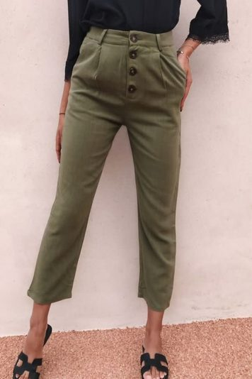Army-green Button Pocket Casual Pants