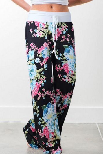 Black Drawstring Floral Wide Leg Casual Pants