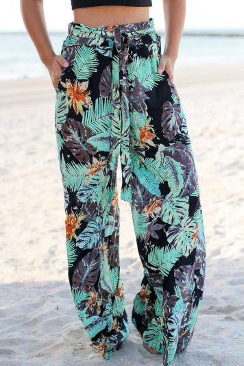 Black Tropical Tied Waist Wide Leg Casual Pants