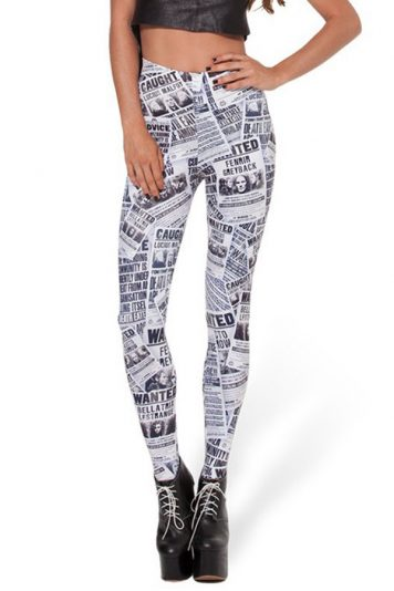 Black-white Newspaper Print Elastic Waist Leggings