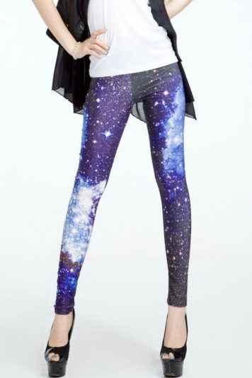 Blue Dark Galaxy Print Elastic Waist Skinny Leggings
