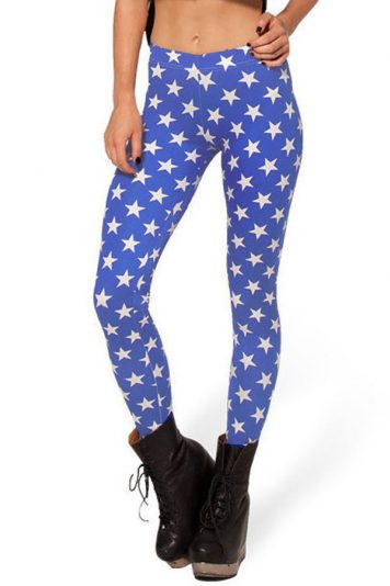 Blue Five-star Print Stretch Skinny Leggings