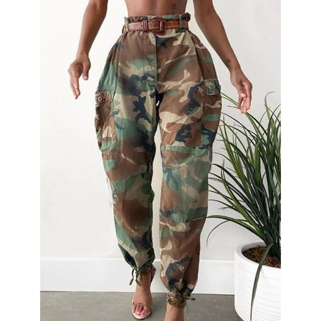 Camouflage Pocket Slim Mid Waist Womens Casual Pants