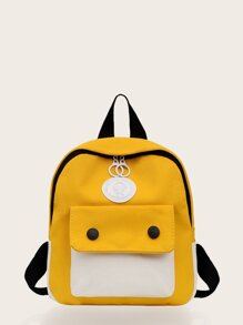 Color Block Pocket Front Backpack