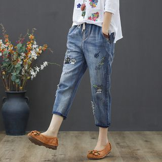 Cropped Embroidered Cat Straight-Fit Jeans