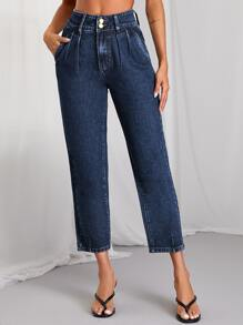 Dark Wash Cropped Straight Leg Jeans