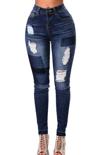 Dark-blue Patch Ripped High Waist Casual Skinny Jeans