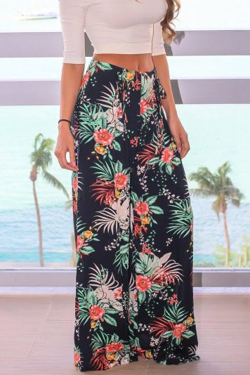 Dark-blue Tropical Tied Waist Wide Leg Casual Pants