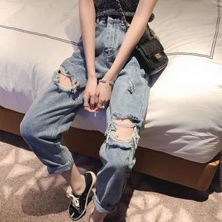 Distressed Cropped Straight-Fit Jeans / Denim Shorts