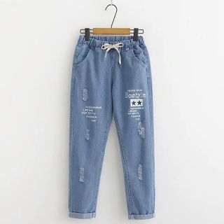 Distressed Lettering Print Straight-Fit Jeans