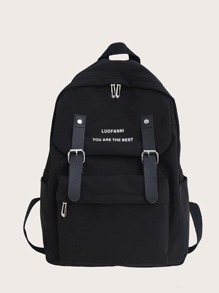 Eyelet Buckle Decor Letter Graphic Backpack