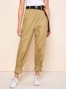Flap Detail Push Buckle Belted Cargo Pants