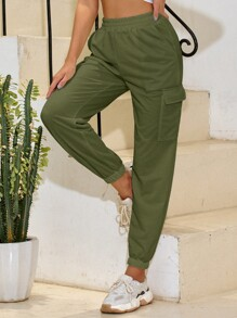 Flap Pocket Elastic Waist Cargo Pants