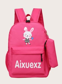 Girls Cartoon Graphic Backpack With Pencil Case