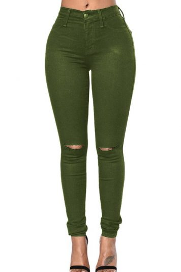 Green Shredded Mid Rise Casual Skinny Jeans