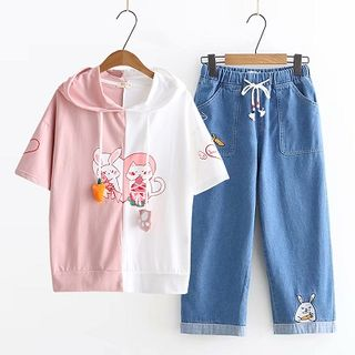 Hooded Printed Short-Sleeve T-Shirt / Crop Jeans / Set
