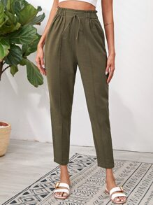 Knotted Paperbag Waist Cigarette Pants