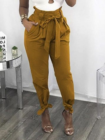 Lace-Up Plain Loose Harem Pants Womens Casual Pants