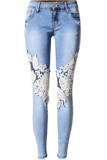 Light Blue Crochet Lace Low Waist Skinny Jeans
