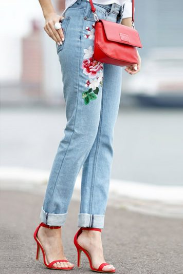 Light Blue Floral Embroidery Straight Jeans