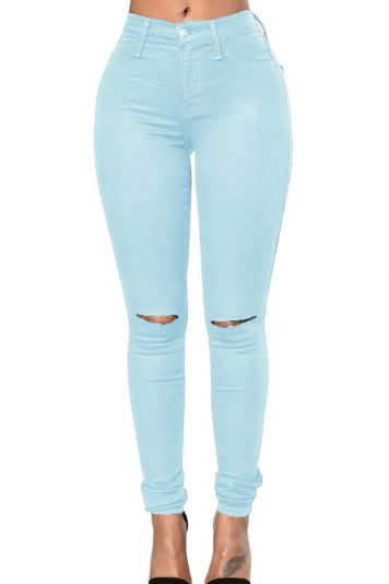 Light-blue Shredded Mid Rise Casual Skinny Jeans