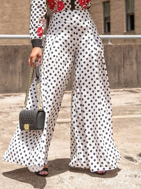 Loose Print Polka Dots Wide Legs Full Length Womens Casual Pants