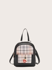 Metal Decor Plaid Graphic Backpack