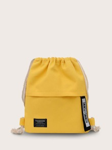 Minimalist Letter Tape Drawstring Backpack