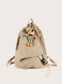 Minimalist Nylon Backpack With Toy Charm