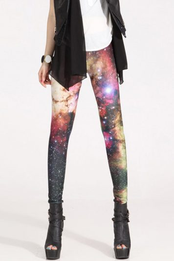 Multi Color Galaxy Print Elastic Waist Skinny Leggings