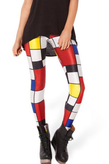 Multi Color Plaid Pattern Stretch Skinny Leggings