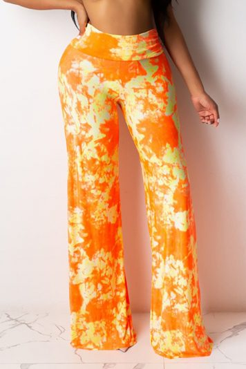 Orange Tie Dye Elastic High Waist Wide Casual Pants
