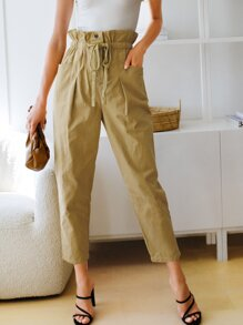 Paperbag Waist Drawstring Pocket Detail Pants