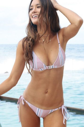 Pink Stripe Triangle Side Tie Cheeky Sexy Bikini