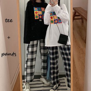 Plaid Cropped Straight-Fit Pants