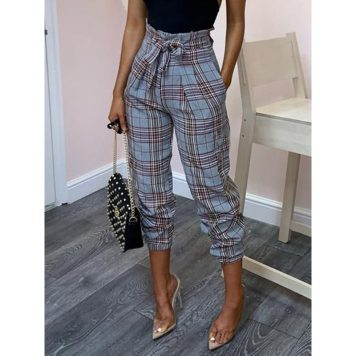 Plaid Pleated Loose High-Waist Womens Casual Pants