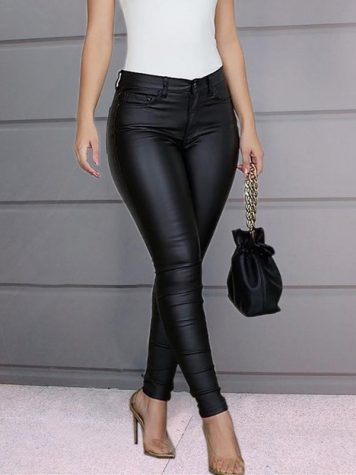 Plain Slim Pencil Pants Womens Casual Pants