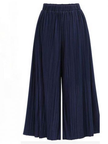 Pleated Wide Legs Elastic Waist Womens Casual Pants
