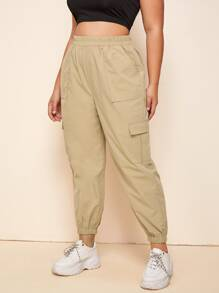 Plus Elastic Waist Flap Pocket Cargo Pants