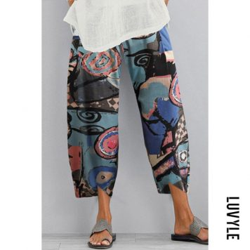 Plus Size Abstract Print Women's Casual Pants